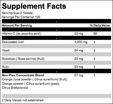 Liver Plus C ingredients