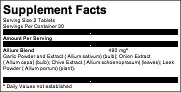 Garlic Allium Complex 60 tabs #3665