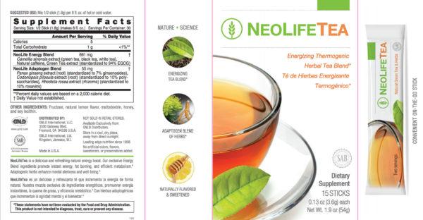 NeoLife Tea No GMOs 15 sticks 30 servings #3860