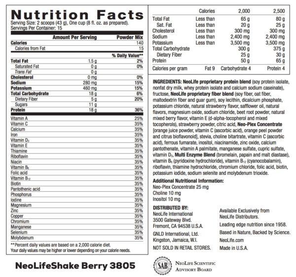 NeoLifeShake - Berries n' Cream no GMOs 15 servings #3805