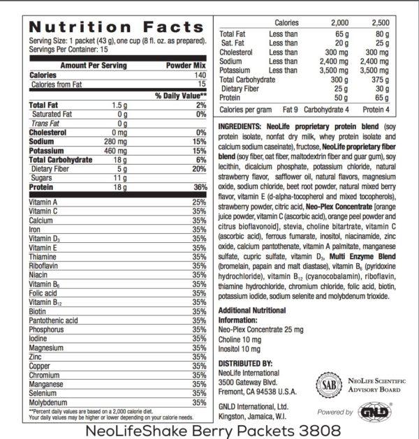 NeoLifeShake Packets-Berries n' Cream no GMOs 15 packets #3808