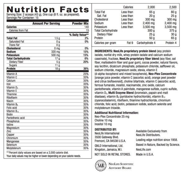 NeoLifeShake - Rich Chocolate no GMOs 15 servings #3806
