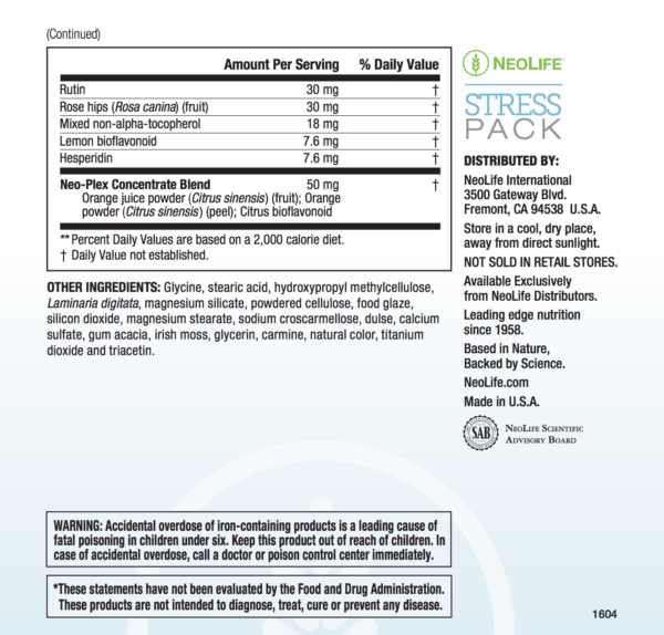 Stress Pack Replenishes Critical Nutrients #3110-1309